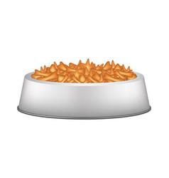 pet food in silver bowl vector image vector image