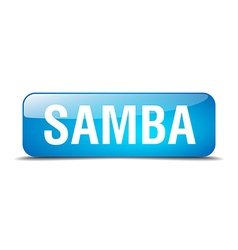 Samba blue square 3d realistic isolated web button vector