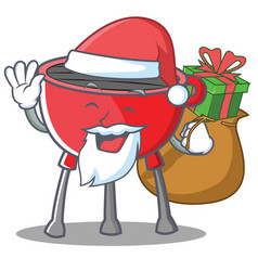 Santa barbecue grill cartoon character vector
