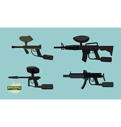 set paintball guns vector image vector image