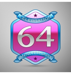 Sixty four years anniversary celebration silver vector