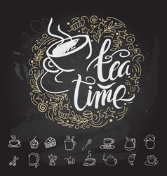 tea time hipster vintage stylized lettering vector image