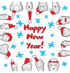 Teeth Happy New Year greeting card vector image vector image