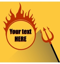 Trident with a hell fire on a yellow background vector
