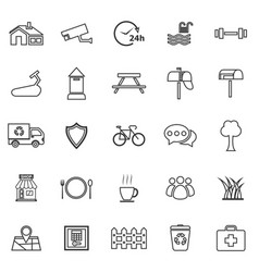 Village line icons on white background vector