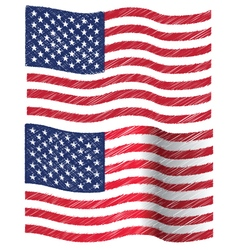 Waving Hand Draw Sketch Flag of United State of vector image vector image