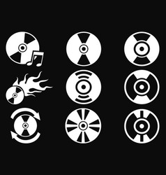 white cd icons on black background vector image vector image