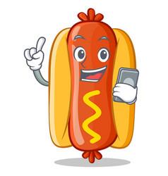 With phone hot dog cartoon character vector