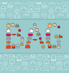 Word bag with bags icons vector