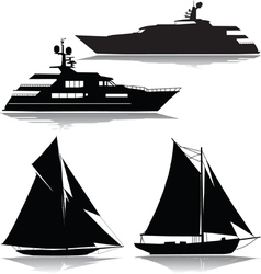 Yachts black silhouette vector
