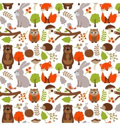 Woodland animals seamless pattern vector