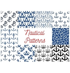 Nautical anchor patterns vector image
