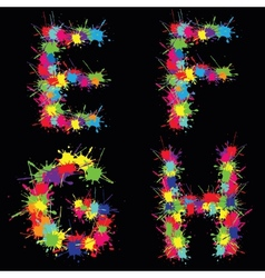 Colorful alphabet with blots efgh vector