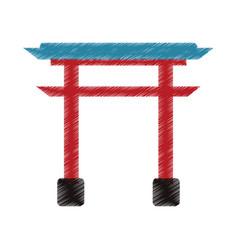 drawing gate landmark japanese vector image