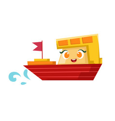 red and orange cargo ship cute girly toy wooden vector image