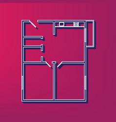Apartment house floor plans blue 3d vector