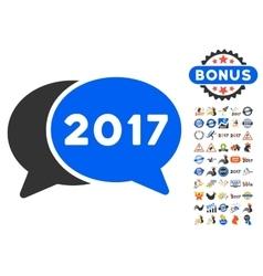 2017 chat icon with 2017 year bonus symbols vector