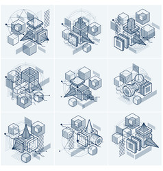 3d abstract isometric backgrounds layouts of vector