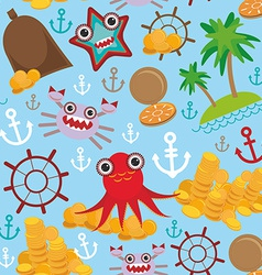 Marine seamless pirate pattern on light blue vector