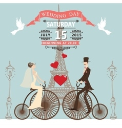 Wedding invitationbride groom on retro bike vector