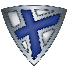 steel shield with flag finland vector image