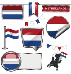 Glossy icons with Netherlands flag vector image