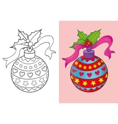 Coloring book of christmas red ball vector