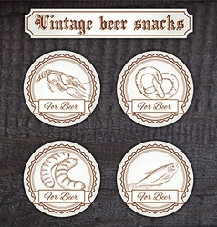 Set snacks logo contains crayfish pretzel sausage vector