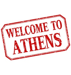 Athens - welcome red vintage isolated label vector image