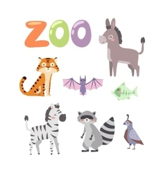 Zoo animals set vector