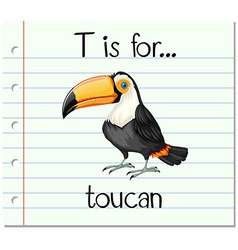 Flashcard letter t is for toucan vector