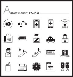 Airport element line icon setpack 3mono graph pack vector