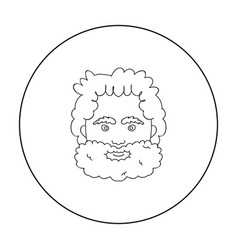Caveman face icon in outline style isolated on vector