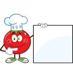 Chef Tomato Cartoon with a Sign vector image vector image