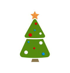 christmas tree topped by golden star and decorated vector image