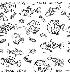 Cute seamless pattern with fish vector