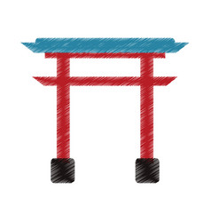Drawing gate landmark japanese vector