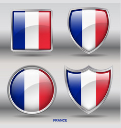 france flag in 4 shapes collection vector image vector image