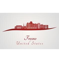 Fresno V2 skyline in red vector image vector image