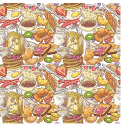 hand drawn breakfast seamless pattern with bakery vector image