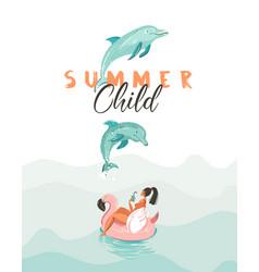 Hand drawn creative cartoon summer time vector