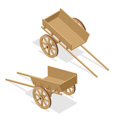 Isometric vintage wooden cart flat 3d vector