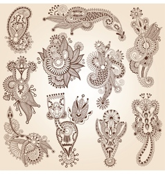 Line art ornate flower design collection ukrainian vector