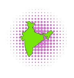 Map of India icon comics style vector image vector image