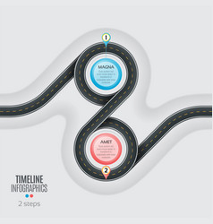 navigation map infographic 2 steps timeline vector image vector image