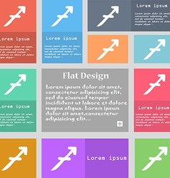 Sagittarius icon sign Set of multicolored buttons vector image
