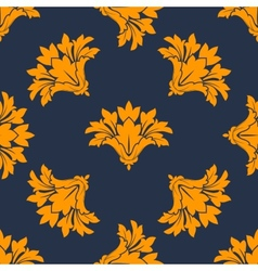 Seamless floral pattern with orange cornflowers vector