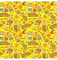seamless pattern of school cheerful background vector image
