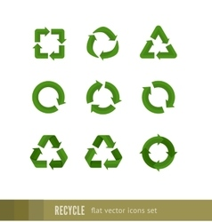 Set flat green signs of recycling arrow vector image