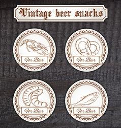 set snacks logo Contains crayfish pretzel sausage vector image vector image